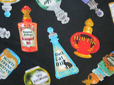 MAGIC POTIONS SPELLS BOTTLES WICKED COLORS COTTON FABRIC FQ
