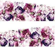 Nail Art Water Decals Stickers Transfers Violet Purple Flowers (DA68)