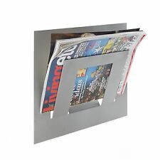 Designer Single Silver Wall Mounted Magazine Newspaper Rack by The Metal House