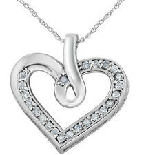 1/4 carat Real Diamond Heart Shape White Gold Pendant