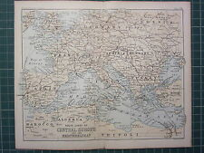 1887 ANTIQUE MAP ~ ROUTE CHART OF CENTRAL EUROPE & MEDITERRANEAN FRANCE SPAIN