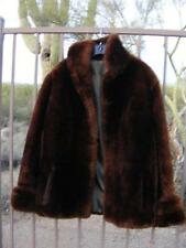 Vintage Thick Plush SHEARED Brown MOUTON LAMB FUR Beaver Stroller COAT M