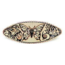 Large Unique Handcrafted Native American Butterfly Copper Art Barrette Hair Clip