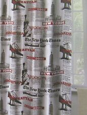 NEW NEW YORK PAPER THEMED FABRIC SHOWER CURTAIN WITH METAL HOOKS