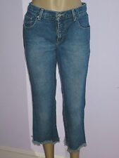 """GIRLFRIENDS"" RETRO DENIM CLAMDIGGER CAPRI CROPPED JEANS FRAYED HEMS 4/6"