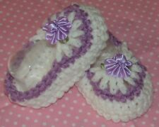 Handmade Crochet Baby Girl Booties, Lilac Newborn 3 Months Rocky Mountain Marty