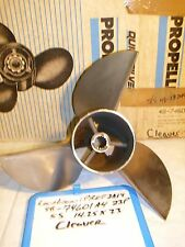 """Reconditioned Mercury Stainless Steel Prop 14.25""""x23"""" LH 48-74601A 4 SOLID HUB!"""