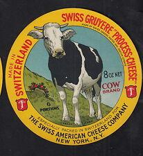 Ancienne  étiquette Fromage  Suisse   BN10330  Gruyère Vache  New York