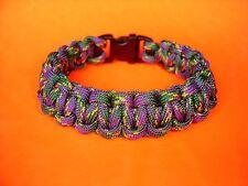 """550 ParaCord Survival Cobra Braided Bracelet - Plum Crazy Colored - Fits 7 1/4"""""""