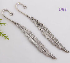 Wholesale 20PCS Tibet Silver Hook Retro Leaves Pattern Bookmarks 116*1