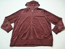 St Johns Bay Active Womens 1X Maroon Velour Hoodie Full Zip Sweatshirt