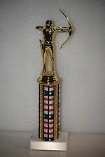 """10"""" Archery Trophy-Male or Female-free engraved plate and choice of column color"""