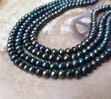 Strand of 80 Beads Dark Grey Freshwater Pearls Button Pearls