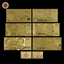 WR Thailand Banknote Collection Of 6pcs Gold Thai Bank Note Set Plastic Money