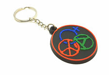 Round Circle Keyring Rubber Dangle Perfect Keychain House School Hotels Bag Ring