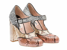 Miu Miu high heels Mary Jane shoes Python and silver glitter Size US 10 - IT 40