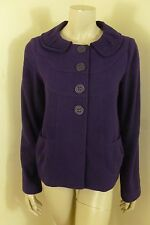 Susina Purple 53% Wool Button Front Long Sleeve Jacket Top  Woman Size M