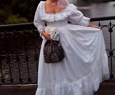 White ivory wedding dress vintage old festival victorian fancy goth pagan size S