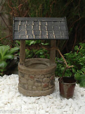 Miniature Dollhouse FAIRY GARDEN Furniture ~ Mini Wishing Well w Crank & Bucket
