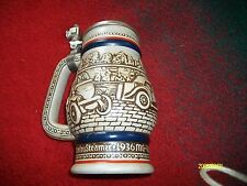 1979 Avon Beer Stein with  Pewter Lid showing vintage cars
