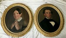 "Pair of Fine Antique Victorian Oil on Canvas Portraits ""Husband and Wife"""