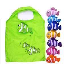 Little Fish Reusable Folding Shopping Bag Travel Grocery Bags Tote UK EW W2