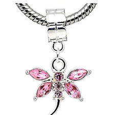 Pink  Crystal Dragonfly Charm Dangle European Bead Compatible for Most European
