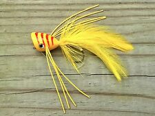 Freshwater Fly Fishing Flies (Bass Trout Bream Redfish) Bass Popper Yellow (3)