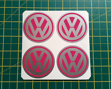 4 x 60mm ALLOY WHEEL STICKERS VW logo Pink on Silver centre cap badge