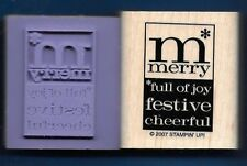 MERRY FESTIVE JOY Christmas print label tag words NEW Stampin Up! RUBBER STAMP