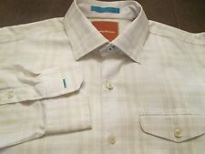 TOMMY BAHAMA TAN & WHITE SHIRT FOR DRESS OR CASUAL SIZE M