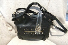 Jessica Simpson Black Textured Faux Leather Cross-body Shoulder Bag - 11.5""