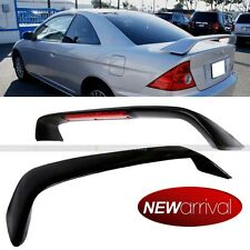 For 01-05 Civic OE SI Style Painted Glossy Black Trunk Spoiler Wing W/ LED