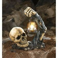 Death Hallow Shadow Skeleton Skull With Lantern Garden LED Solar Light Statue