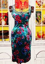 Betsey Johnson VINTAGE Dress CRUSHED VELVET Floral DAISY and ROSE Blue P S 0 2 4