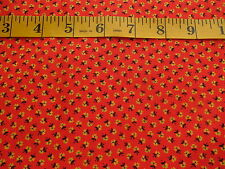 Vintage Red Calico Cotton Fabric w/ Yellow & Black Flowers