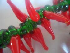 Handmade Lampwork,Glass Chilli Beads x 50, Approx 21-23mm long, Hole Size 2mm