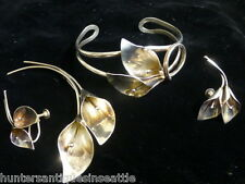 Vintage Sterling New York Signed Calla Lily Bracelet, Earrings & Brooch Set