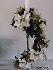 Christmas Gold & Cream Trailing Candle ring wreath  Poinsettia Cherry Wheat Cone