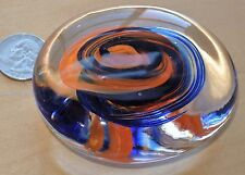 Marble Art Glass Thick Disc Paperweight Sculpture-Swirled Orange/Blue-
