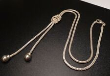 VINTAGE WHEAT BEAD LARIAT CHAIN NECKLACE ITALY STERLING SILVER 925 (16.3g) AA