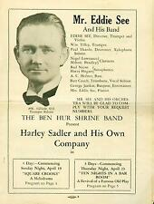 Program Harley Sadler Travelling Tent Theater 16th & Guadalupe Austin Texas 1931