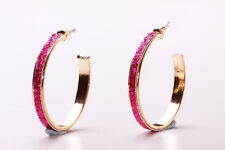LOVELY GLITTERY FUCHSIA MOONDUST & GOLD TONE HOOP PARTY EARRINGS (CL21)