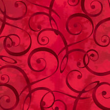 Scrolls, Rich Red Tonal, Christmas Dreams, Quilting Treasures  (By 1/2 yd)