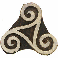 Triskele Wood Rubber stamp celtic Pattern Triangle Motif Wood block handcarved