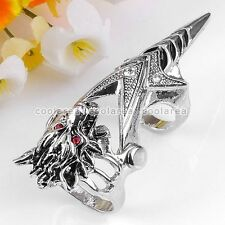1x Silvery Red Crystal Wolf Head Knuckle Armour Double Ring Cosplay Gothic Punk
