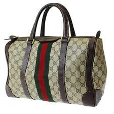 GUCCI GG Supreme Vintage Web Boston Hand Bag Brown PVC Leather Authentic #8913 W
