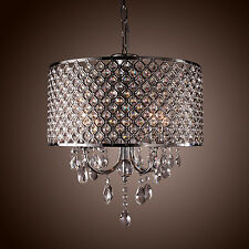 Drum Chandelier Crystal 4 Lights Modern Ceiling Lighting Fixture Pendant Lamp us
