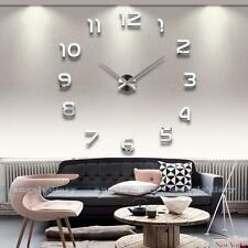 3D DIY Extra Large Wall Clock Luxury Mirror Wall Sticker Home Room Decoration