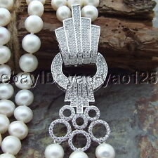 H072512 19'' 3 Strands White Pearl Necklace CZ Clasp